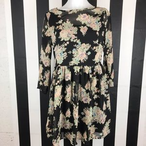 TOBI Black Floral Print Mesh Long Sleeve Dress